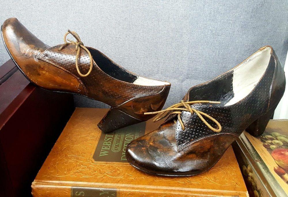 CUSTOM Women's Rustic Prop Steampunk Distressed Pumps Shoes Leather US 10 UK 41 #Handmade #PumpsClassics