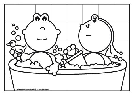 frokkie en lola zitten in bad spetteren met de badeend en