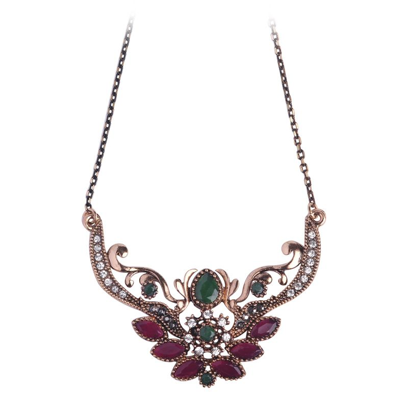 Brand turkish design flower crown queen necklace antique gold plated brand turkish design flower crown queen necklace antique gold plated thin chain red acrylic pendants vintage mozeypictures Choice Image