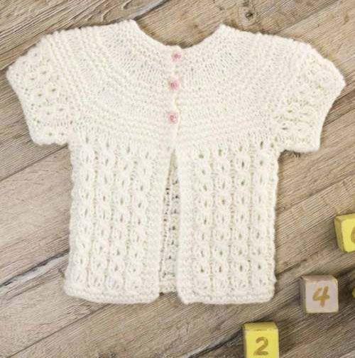 Short-Sleeved Cardigan Free Knitting Pattern for Infants | free ...