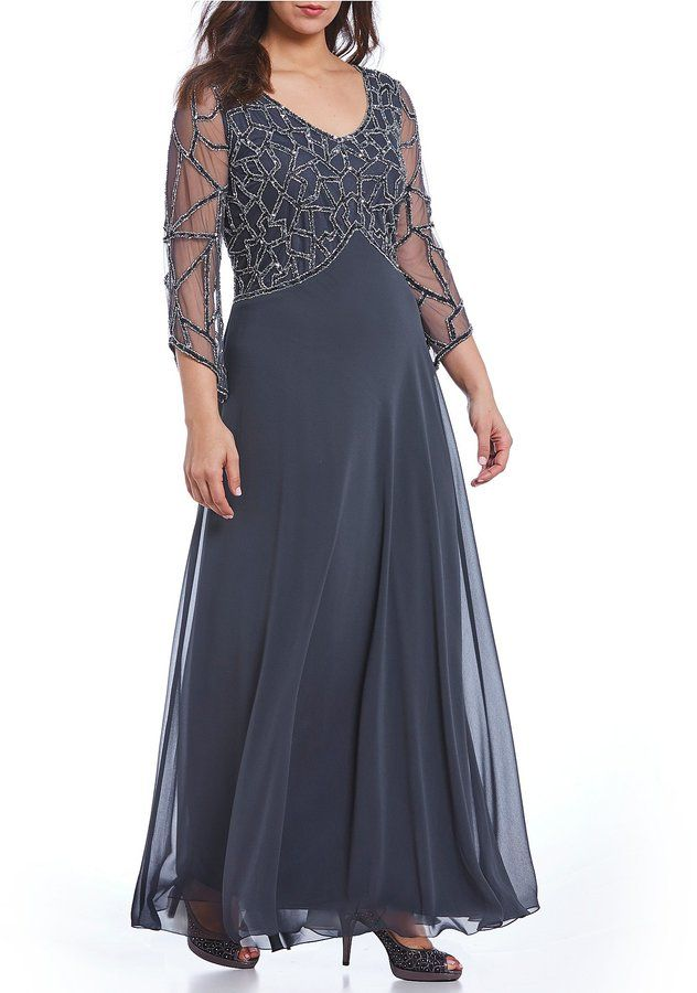 8522c48966a Jkara Plus Sequined V-Neck Gown in 2019