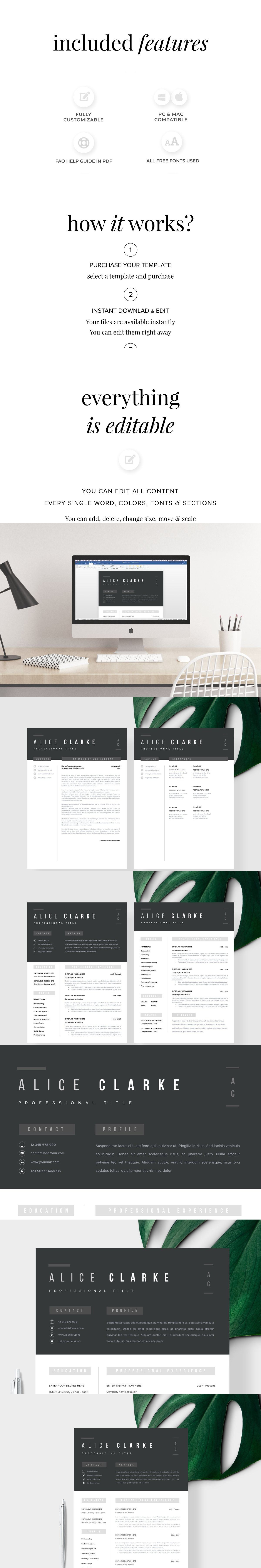 Resume Template 1, 2 page Oslo Templates, Layout