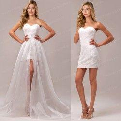 6696ee85d19e Robe de mariee courte dentelle longueur amovible blanc cassé