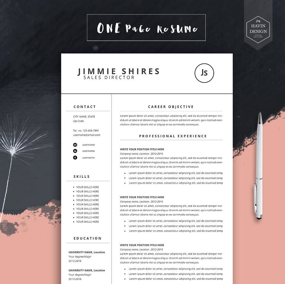4 Pack Cv Template + Free Cover Letter for MS Word, Resume Template ...