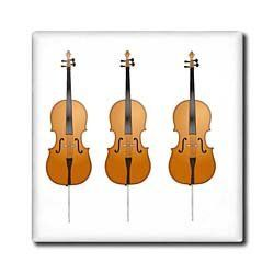 """3 Cellos - 12 Inch Ceramic Tile by 3dRose. $22.99. High gloss finish. Clean with mild detergent. Image applied to the top surface. Dimensions: 12"""" H x 12"""" W x 1/4"""" D. Construction grade. Floor installation not recommended.. 3 Cellos Tile is great for a backsplash, countertop or as an accent. This commercial quality construction grade tile has a high gloss finish. The image is applied to the top surface and can be cleaned with a mild detergent."""