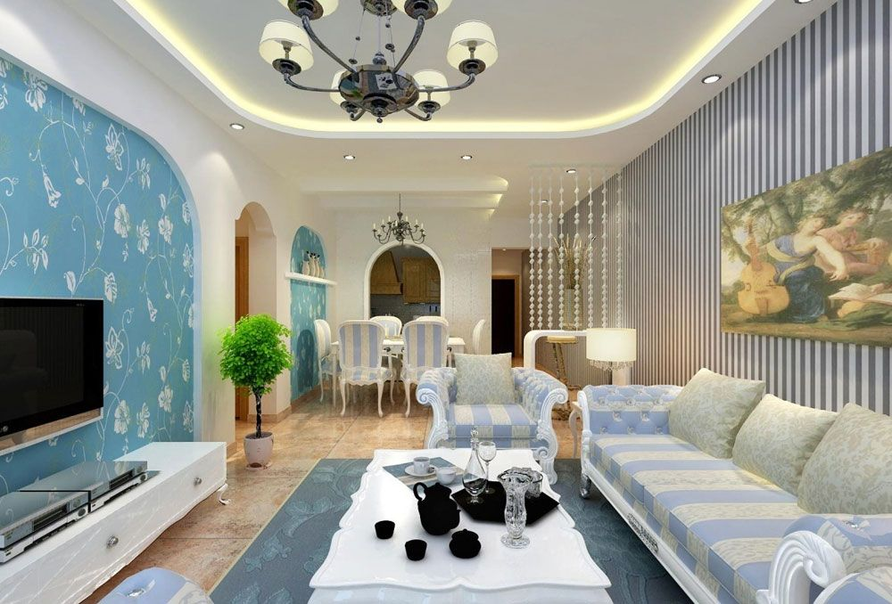 Lovely Living Rooms With Striped Walls 7