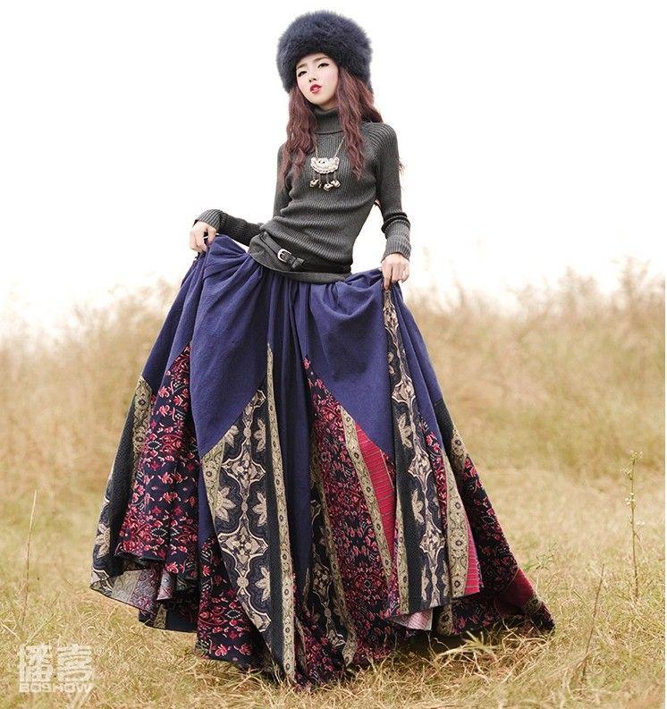 cb5d84cbe2c ... skirt and blouse sets Suppliers  2015 New Autumn Winter women long skirt  Elastic Waist Long Maxi Floral print skirt Big hem Cotton And Linen Skirts  with