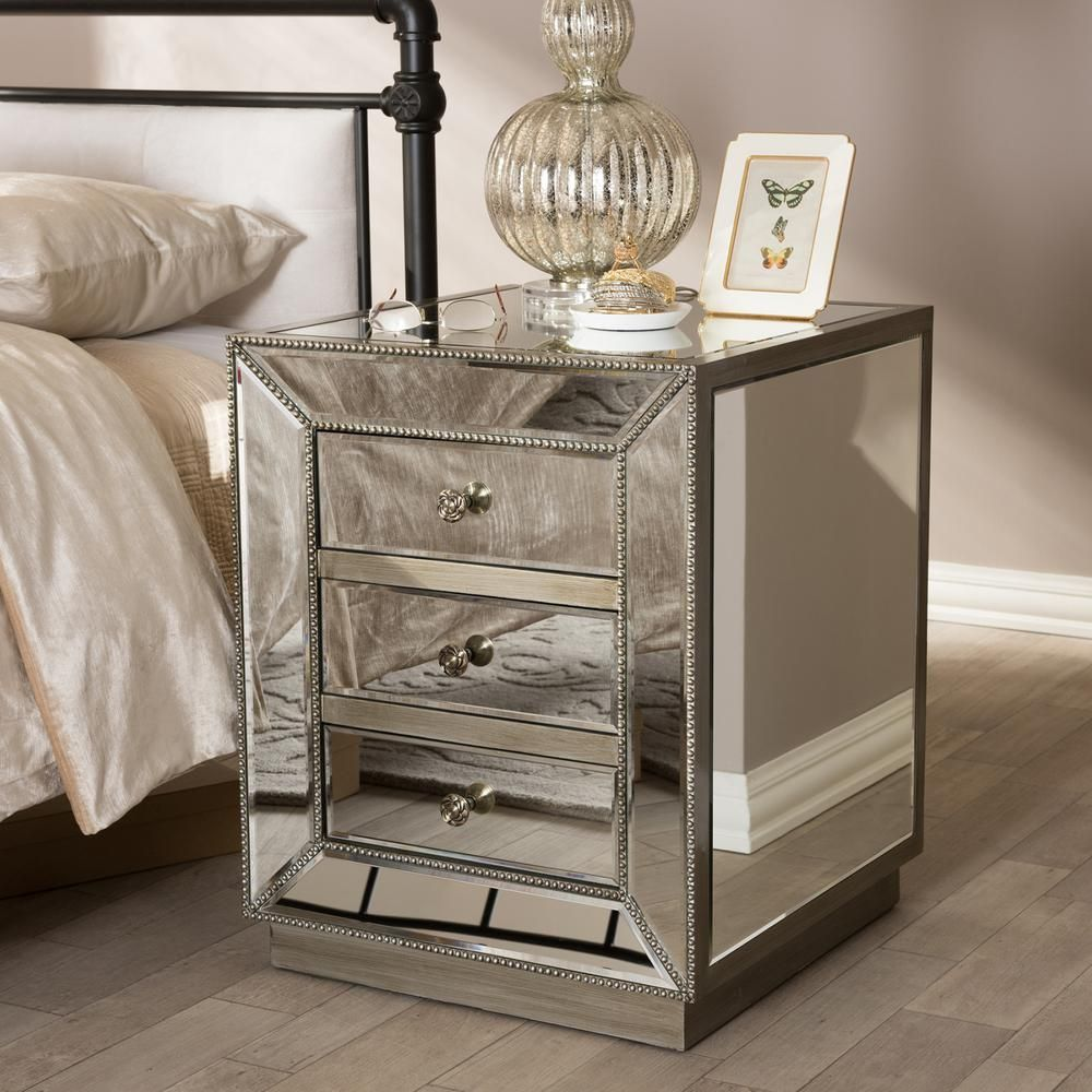 Currin glam 3 drawer silver metallic finished wood nightstand