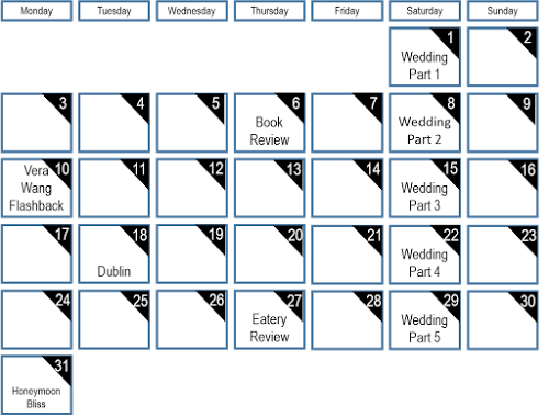 My Blogging Calendar | Playing The Wife