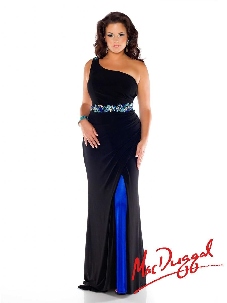 308a080f452b Mac Duggal Fabulouss 76304F Plus Size One Shoulder Gown - French Novelty