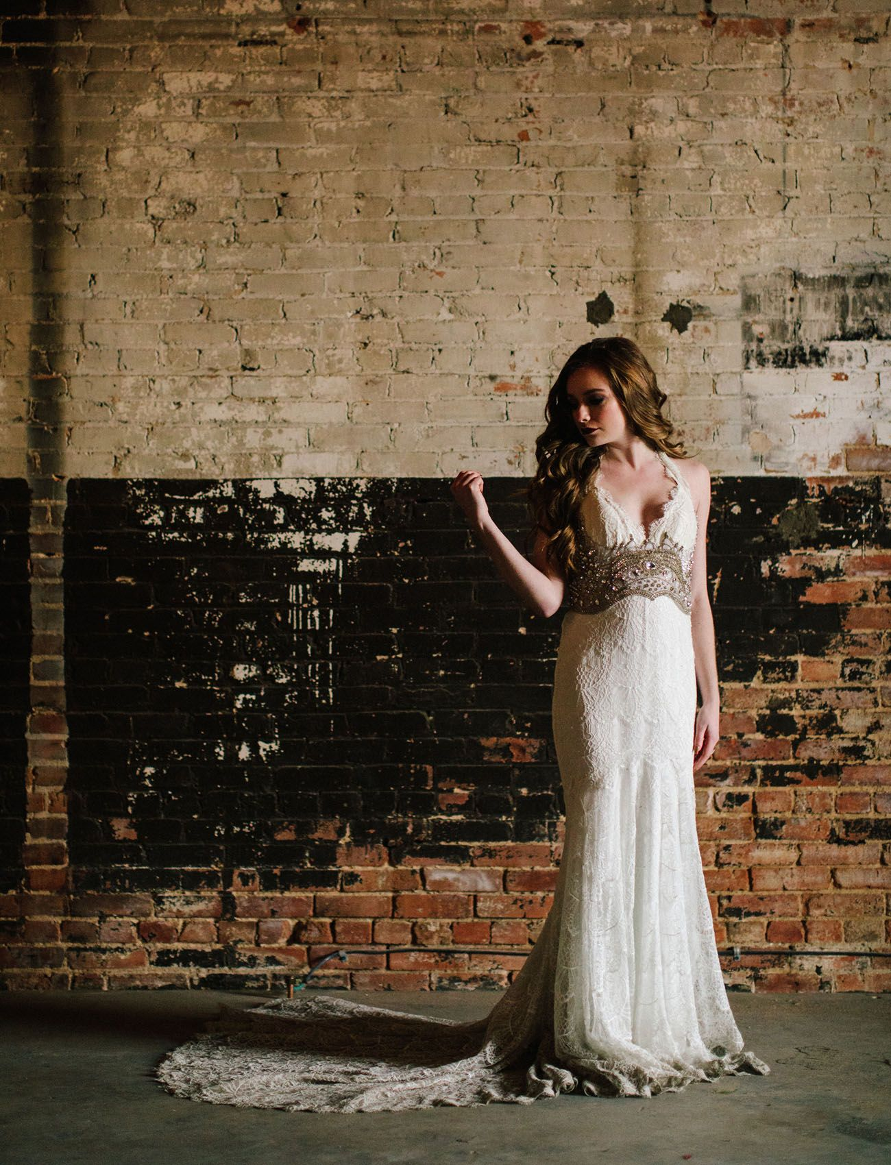 Makeup with emerald green dress  Marsala  Emerald Elopement Inspiration at a Dallas Warehouse
