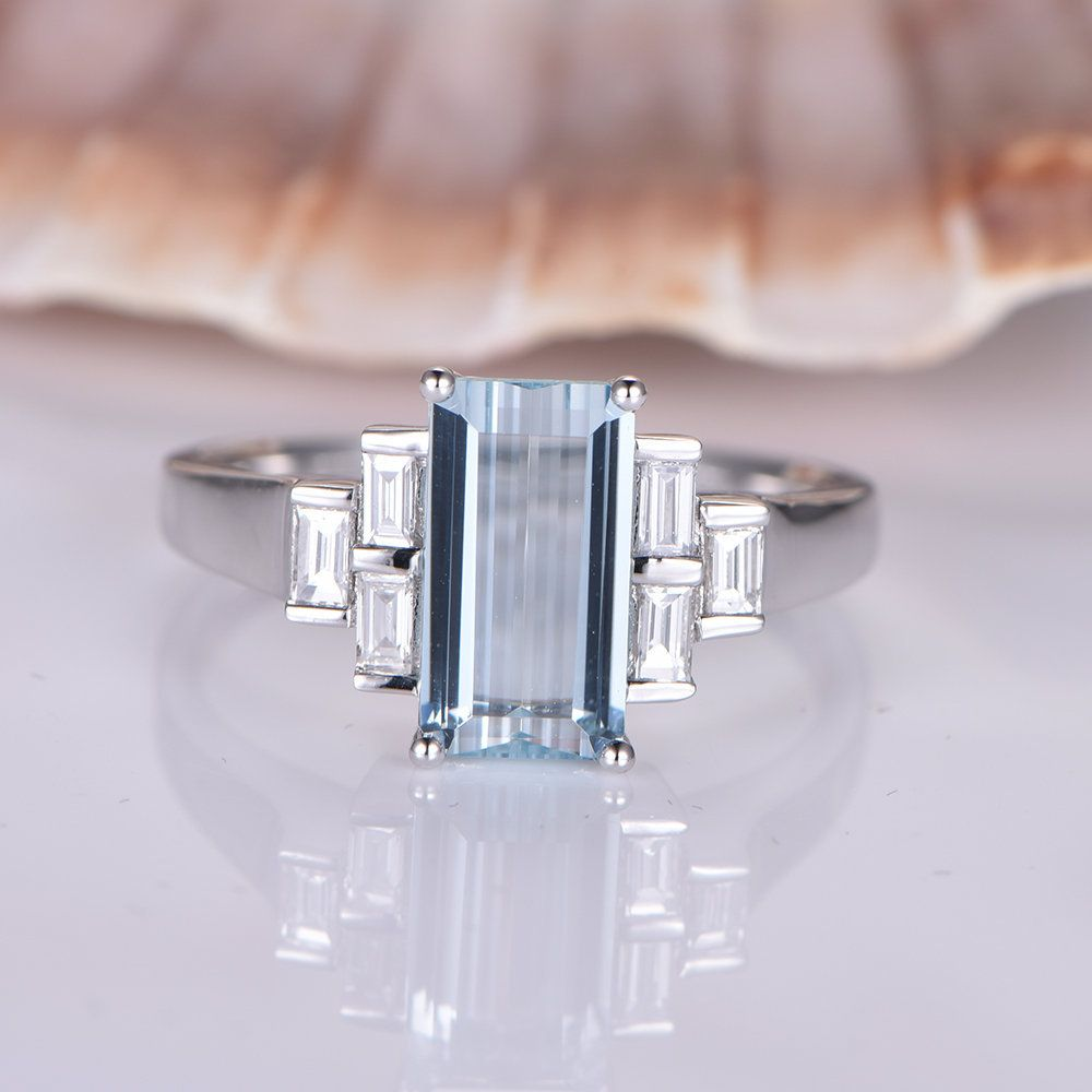 White Gold Aquamarine Engagement Ring Baguette 2x3mm Moissanite Band Natural Blue 6x11mm Emerald Cut aquamarine 14k Promise Solitaire Ring #aquamarineengagementring
