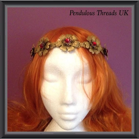 Gold and red fancy metal crown by PendulousThreadsUK on Etsy