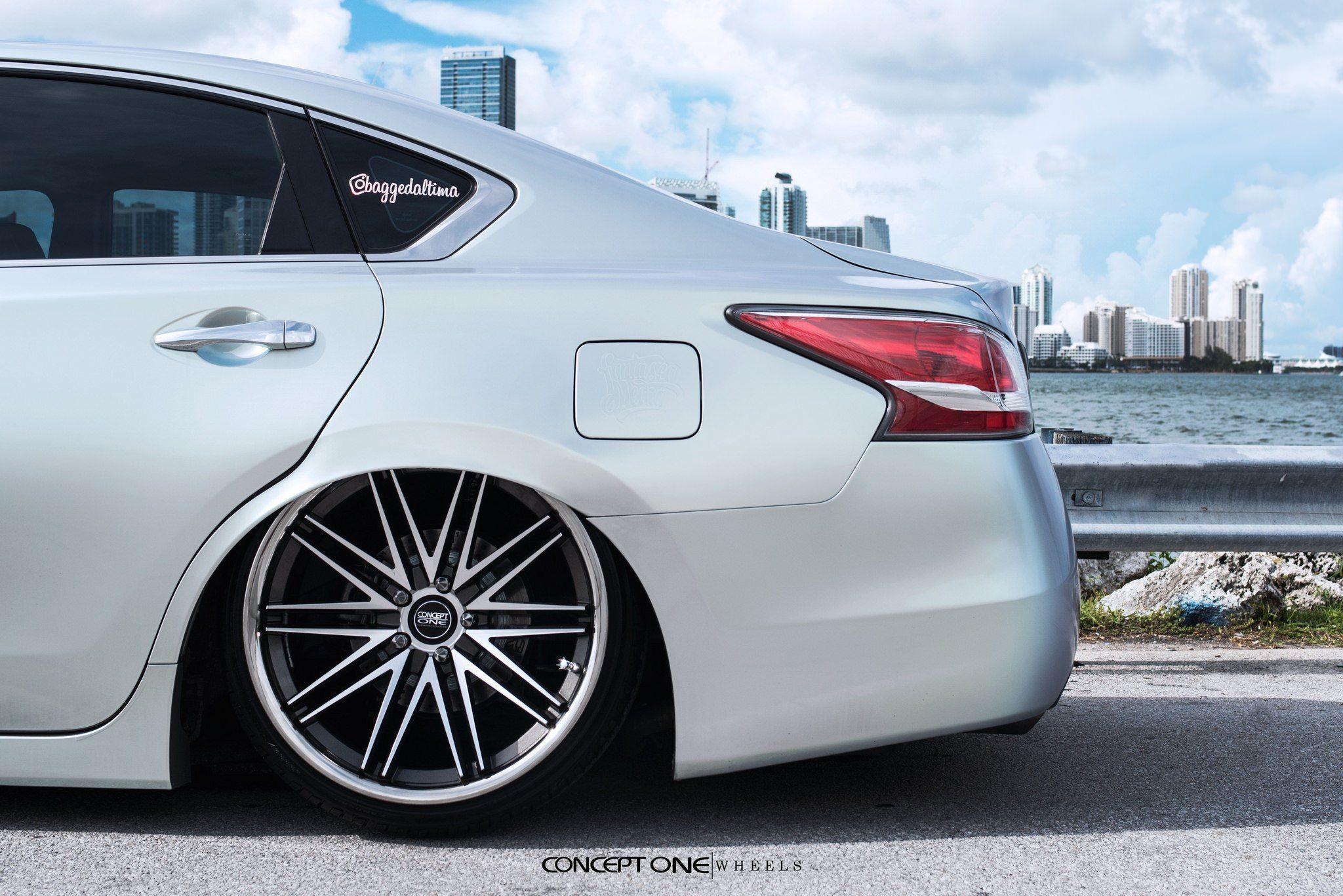 White Nissan Altima With Polished Concept One Rims Photo By Concept One Nissan Altima Altima Nissan