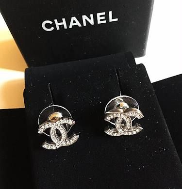 3e6811a9b Chanel CC Crystal Classic Silver Stud Earrings Hallmark Authentic ...