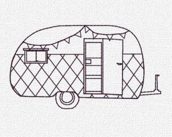 Retro Camper Machine Embroidery Pattern Design Instant Download 4 Sizes Modern Redwork Vintage Includes Mini Size