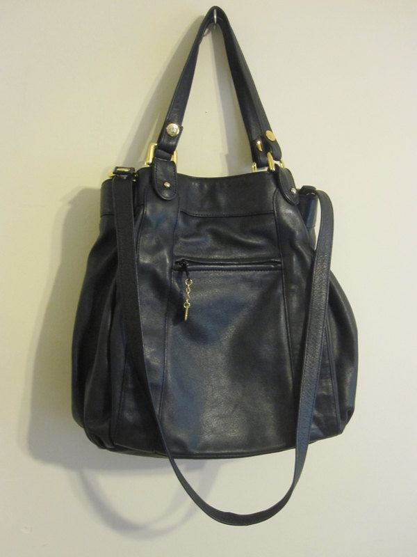 Vtg 80s Brio Black Leather Handbag
