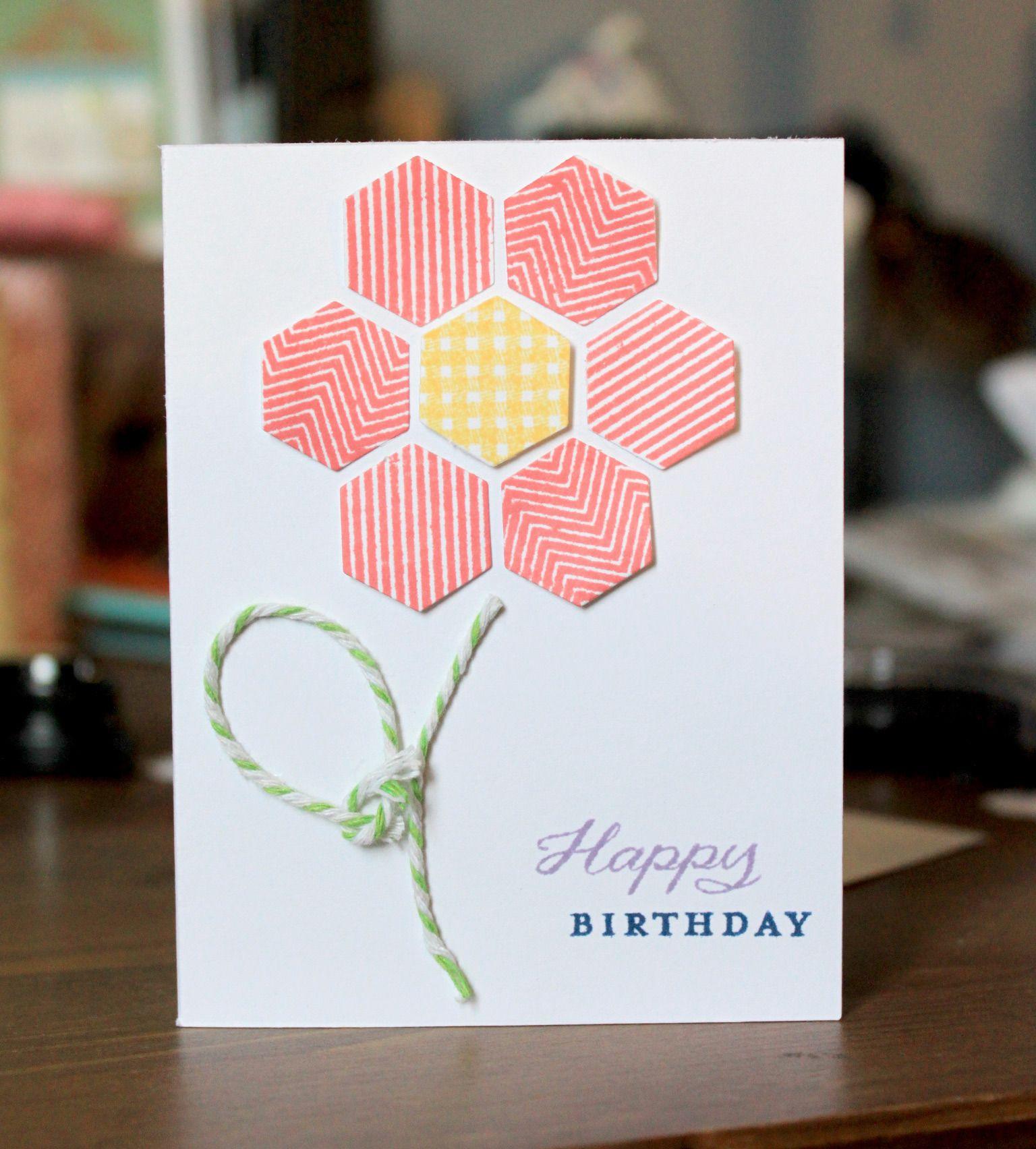 Hexagon Flower Birthday Card Simple Cards Birthday Cards Hexagon Cards