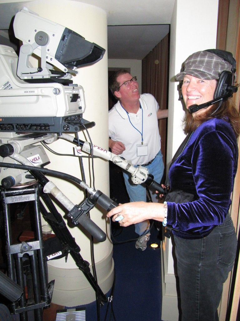 producer patty mooney and dp mark schulze pose tennis pro patty mooney and michael brueggemeyer behind the scenes at rifftrax christmas show photo by patty mooney of crystal pyramid productions in san diego