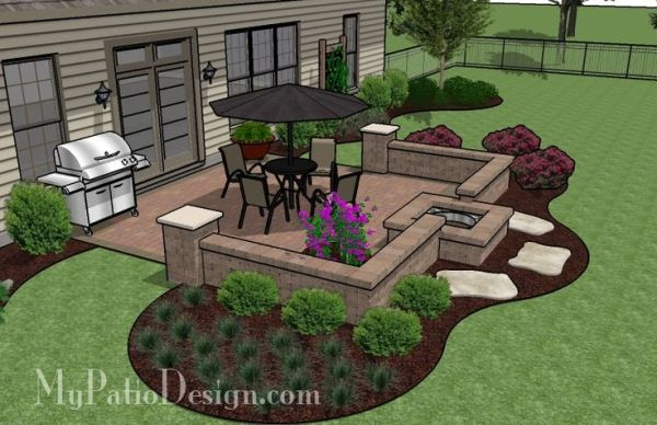 Easy To Build Patio With Fire Pit   Patio Designs And Ideas (wonder If I  Could Sub Out The Fire Pit For An Outdoor Brick Oven?