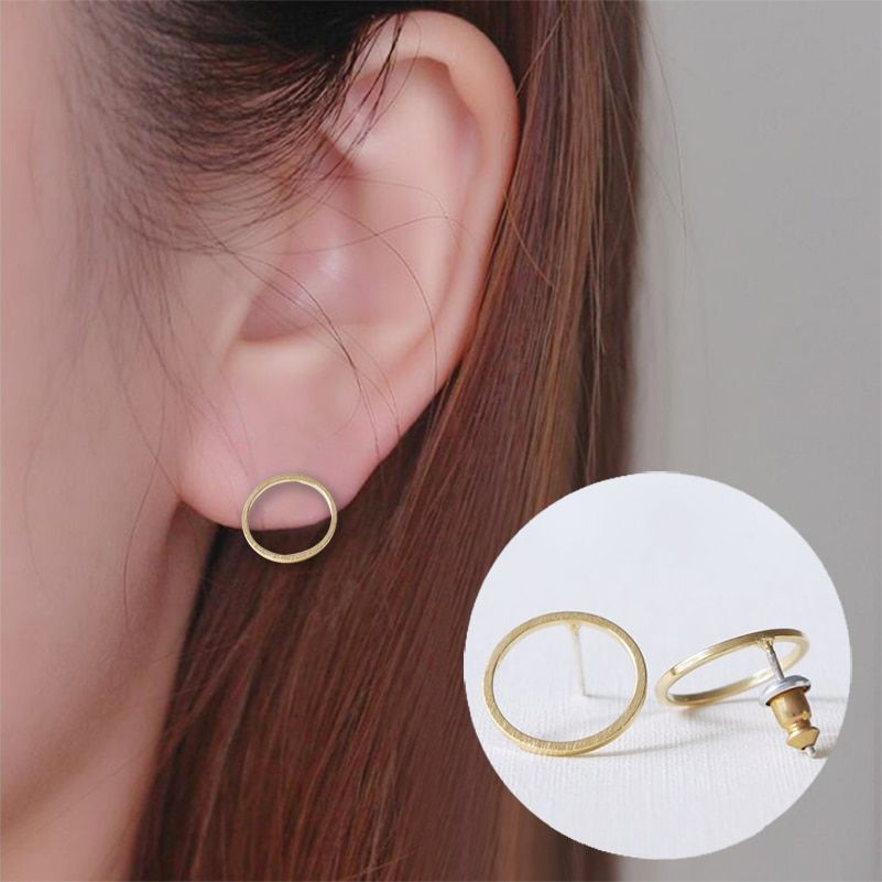 Cherryi Vintage Circle Earrings for Women Gold Round Pendant Stud Earing Geometric Jewelry