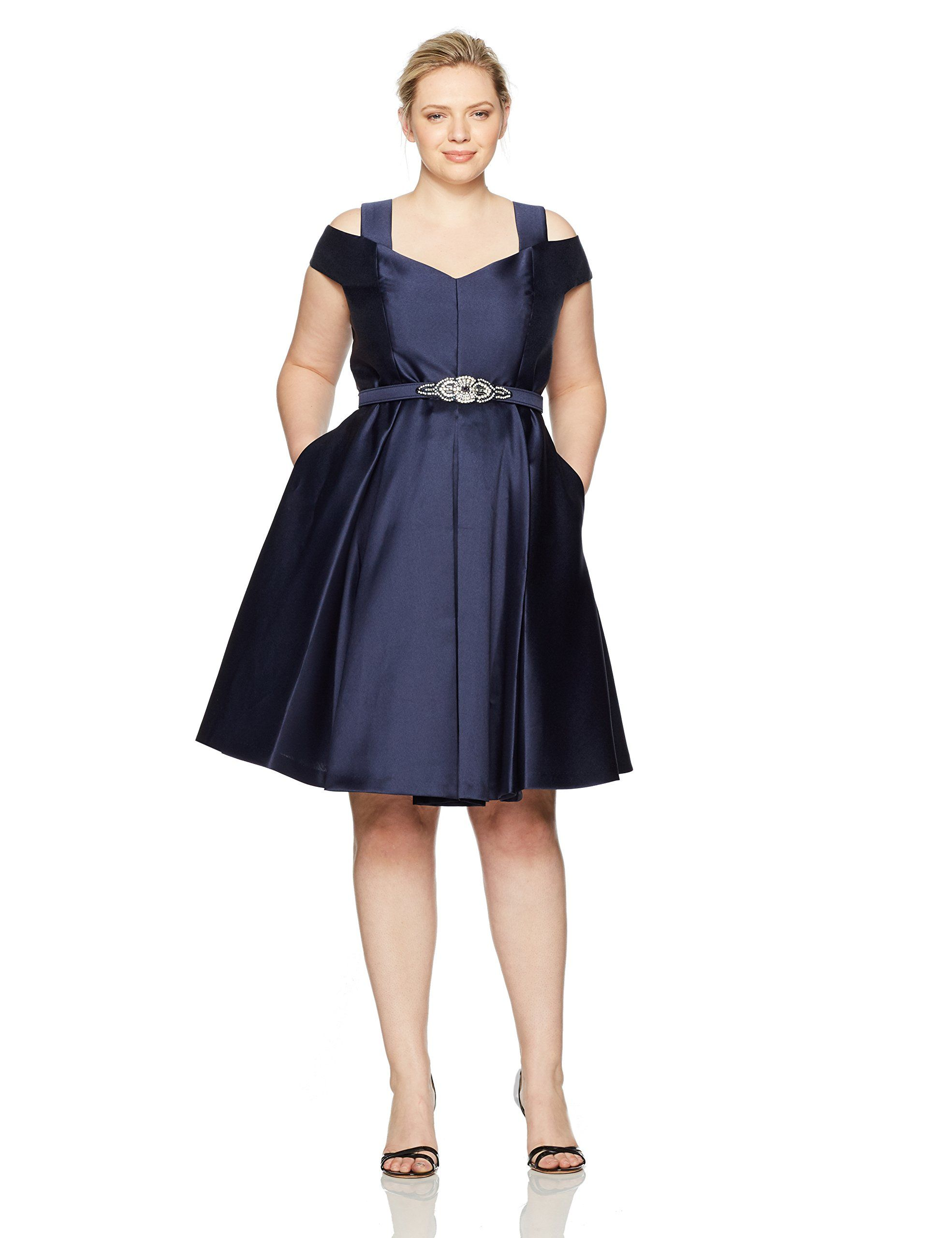 92c4e9f021f Eliza J Womens Plus Size Shoulder Flared Dress Navy 14W   You can find more  details