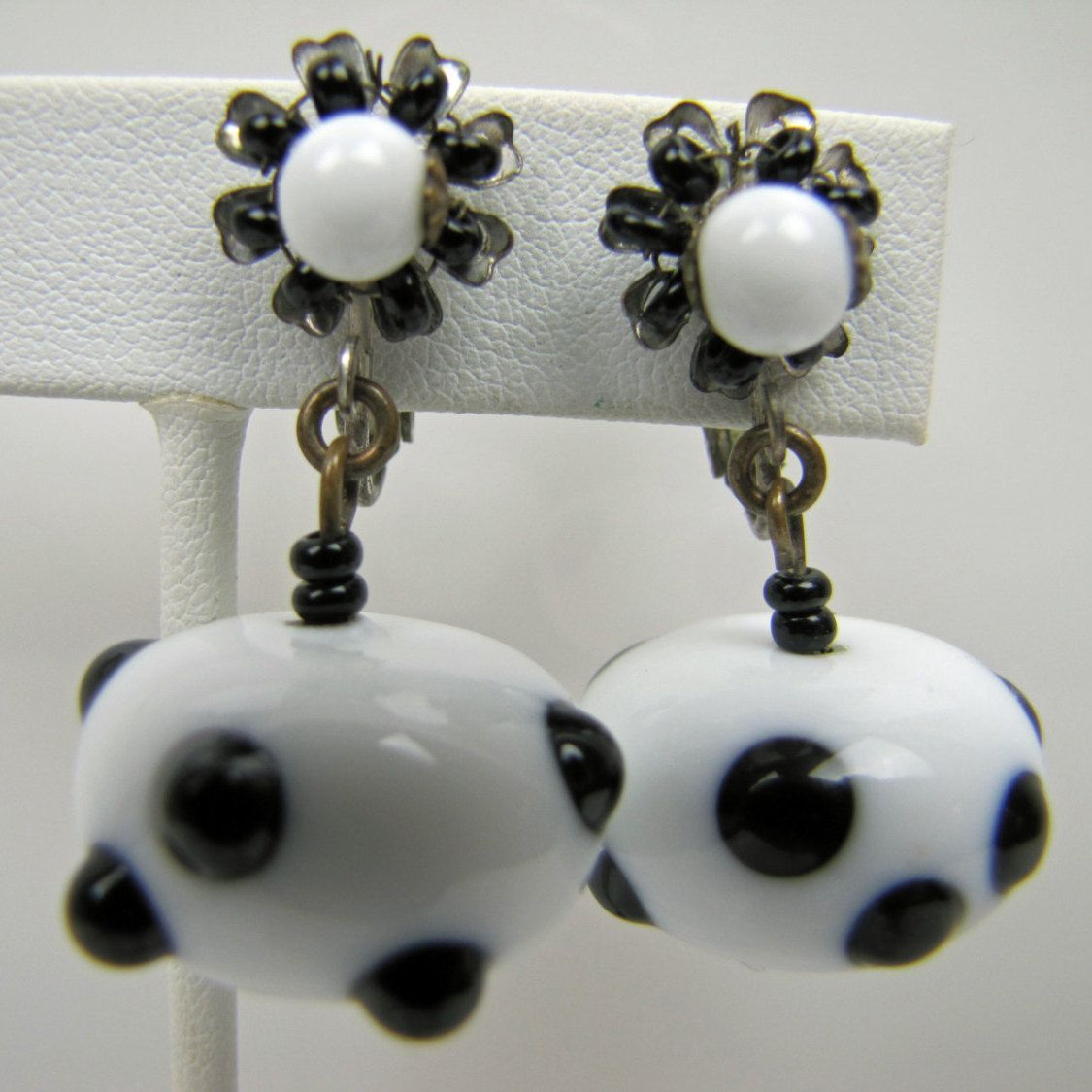 Miriam Haskell Signed Murano Art Glass Earrings. White With Black ...