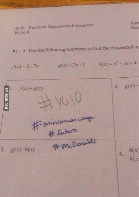 """Student puts """"#yolo"""" on test. This is the response from the teacher."""