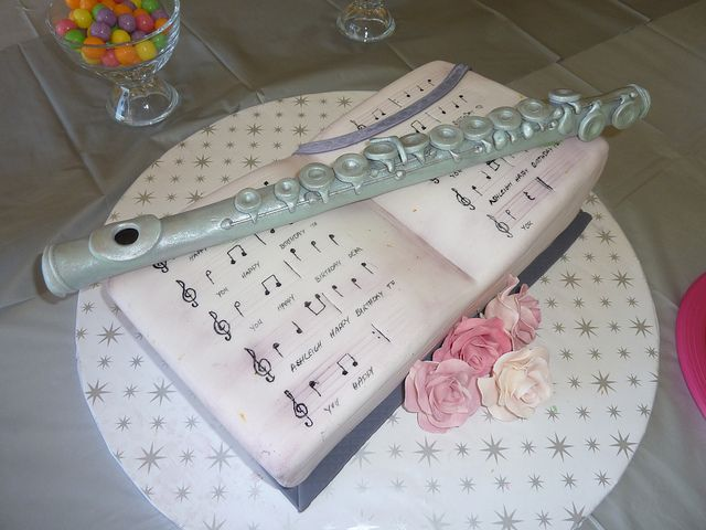 Flute and music book birthday cake. | birthday cakes ...