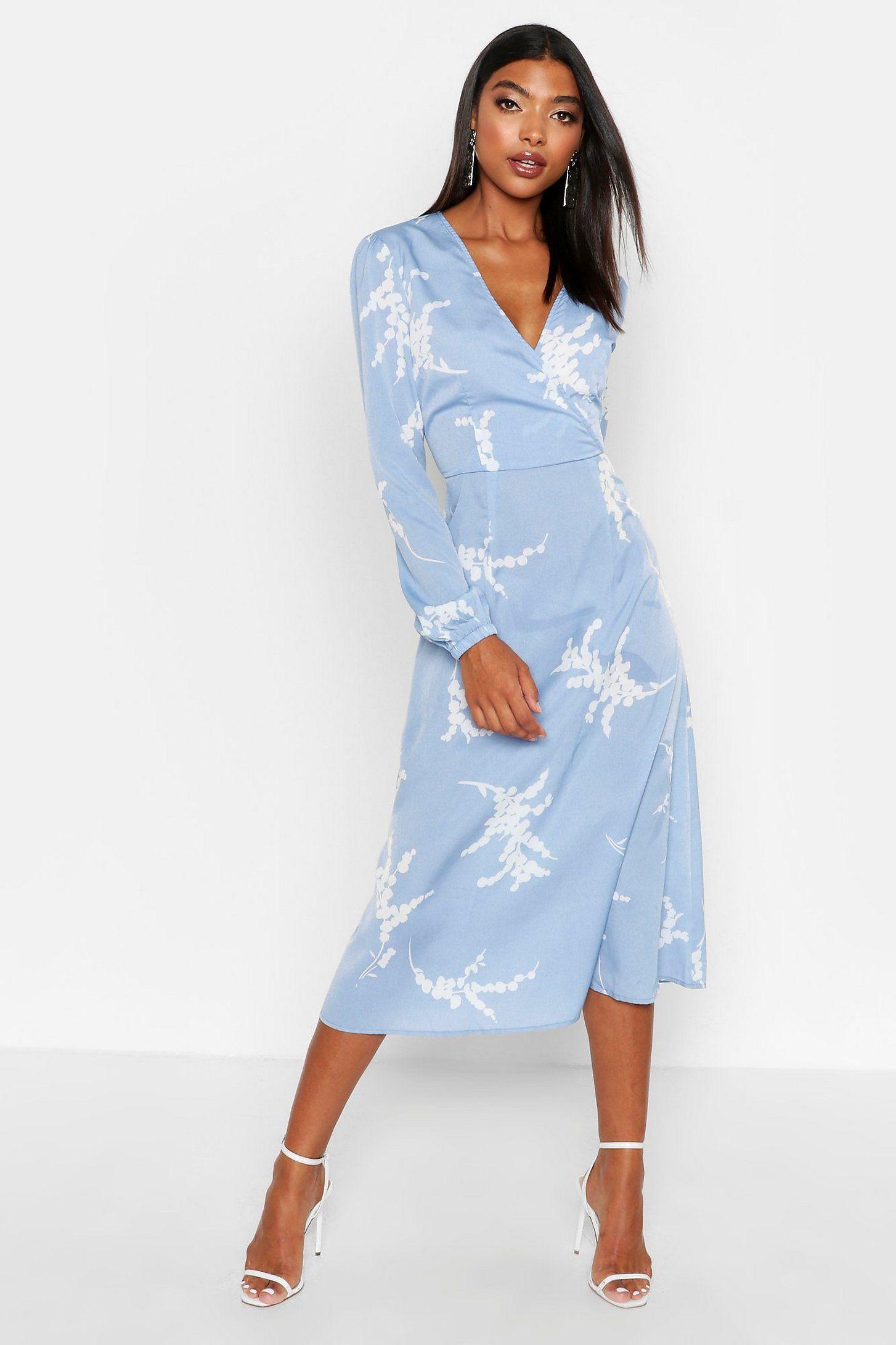 Tall Floral Print Wrap Midi Dress Boohoo In 2020 Dresses Bodycon Fashion Midi Dress [ 2182 x 1454 Pixel ]