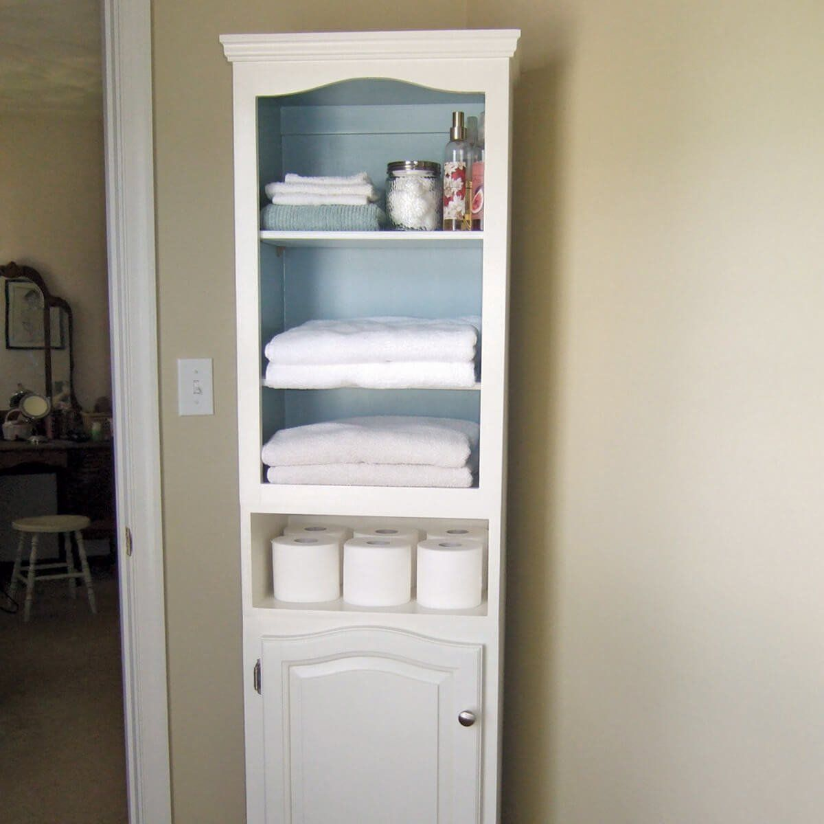 These Secondhand Cabinets Sat In The Garage For Two Years Before Janet Johnson Got The Inspira Tall Bathroom Storage Linen Storage Cabinet Tall Cabinet Storage