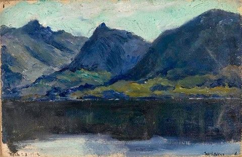 Frank Wilbert Stokes (1858-1955) American painter and illustrator who specialized in the arctic and Antarctic. The Mountains of Tierra del Fuego, Beagle Channel 1902 Christie's