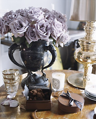 roses, urn, candle