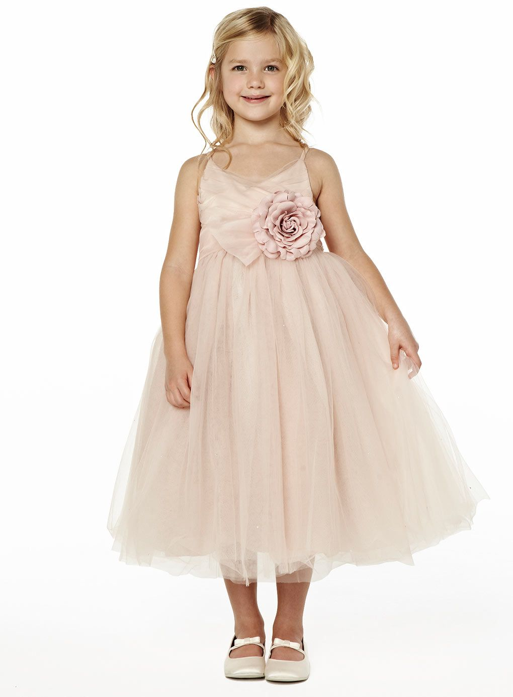 Pearl pink double straps ankle length tulle layered flower girl searching for princhar tulle flower girl dressjunior bridesmaids dress little girl toddler dress find it and much more at the amazon fashion store ombrellifo Gallery
