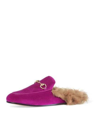 446362c15e9 Princetown Velvet Fur-Lined Mule
