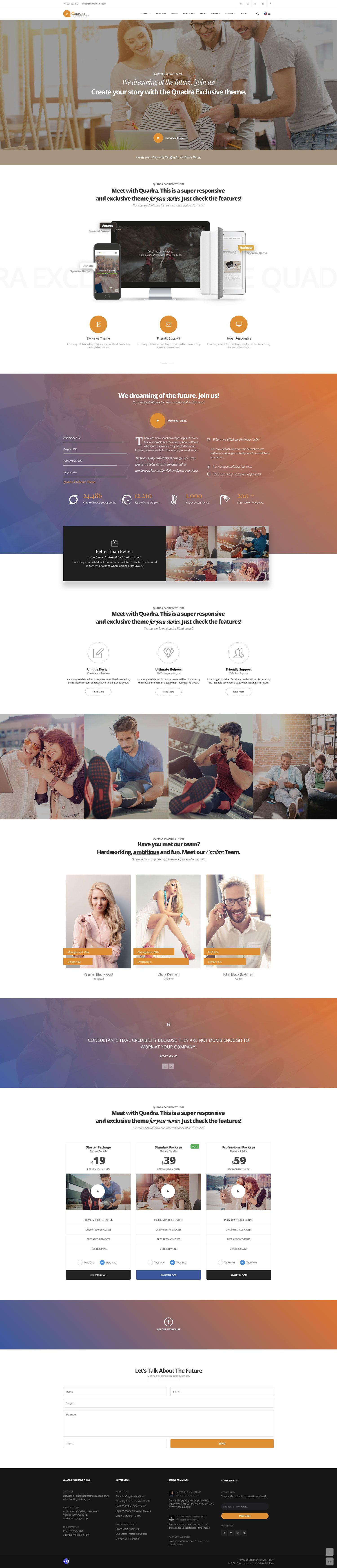 Quadra Creative Template, Atlas demo. Beautiful creative website ...