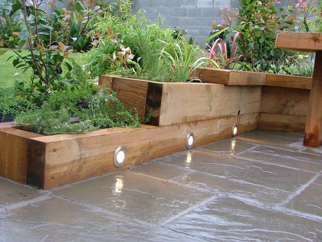 Small Patio Garden Ideas small patio garden with wooden bench Wonderful Small Patio Garden Ideas With Wooden Planter Box And Floor Lights Design Concept
