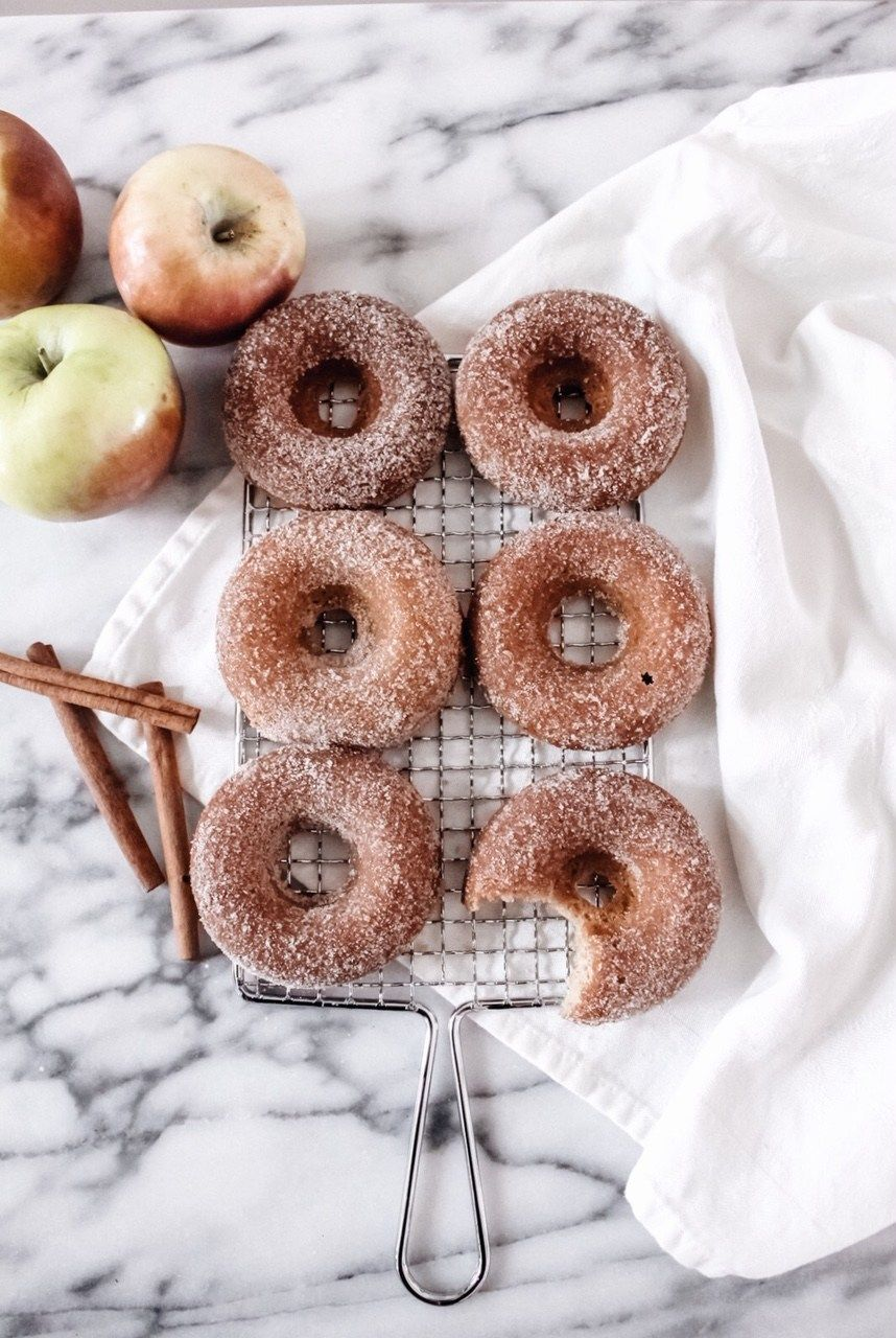 Baked apple cider donuts with cinnamon sugar topping.