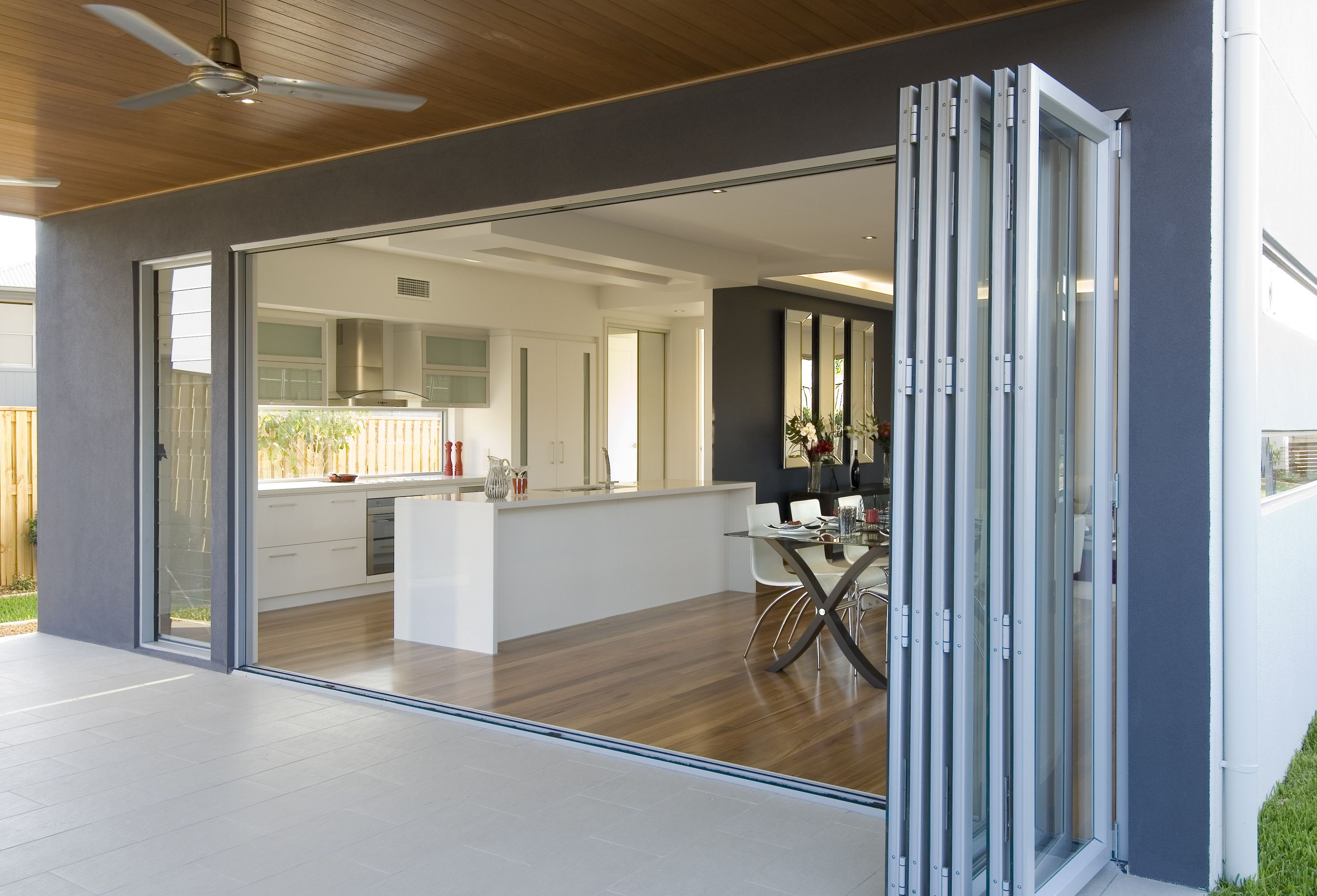 Wide Aluminium Bifold Door And Louvre Window Bifold