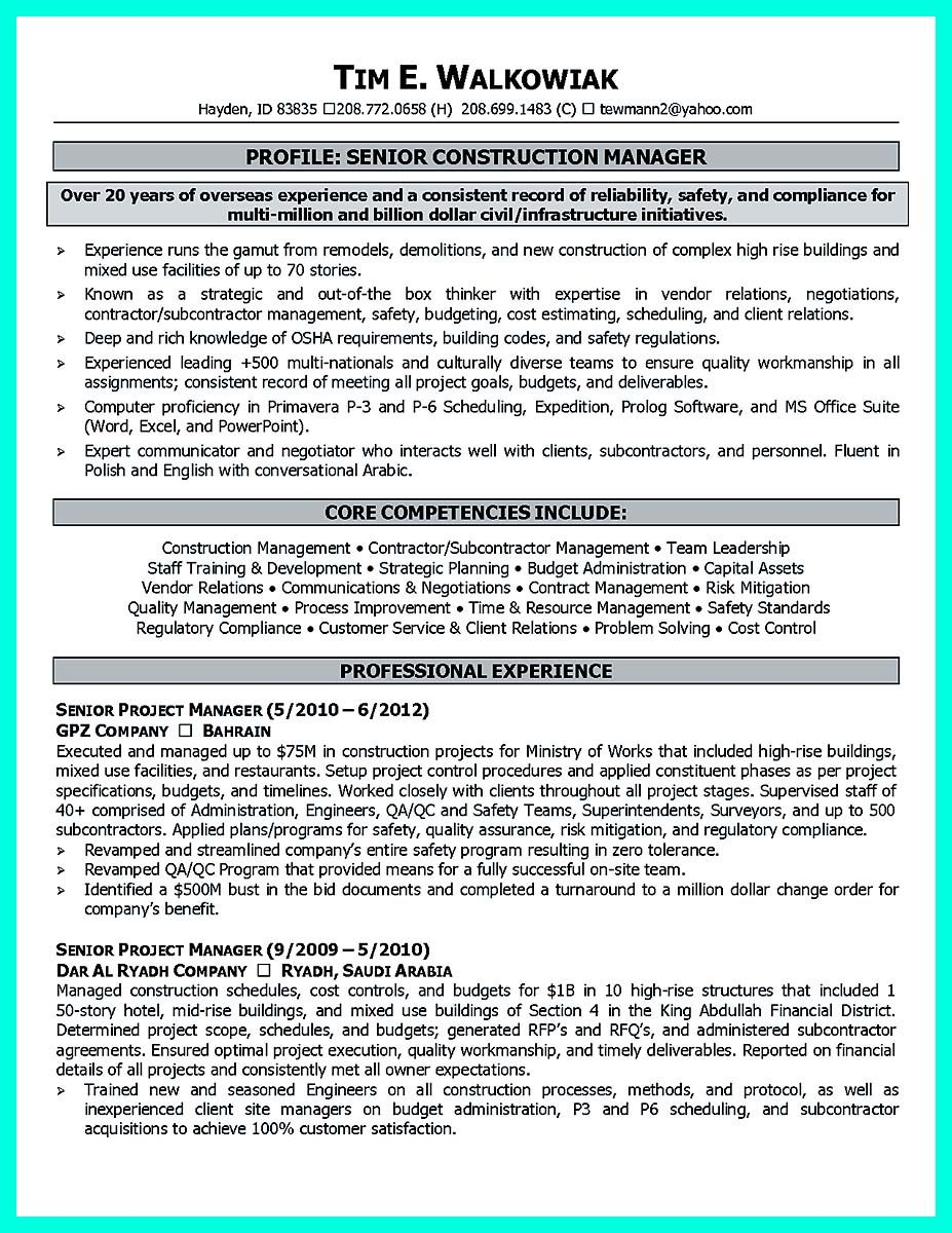 awesome Perfect Construction Manager Resume to Get Approved, Check ...