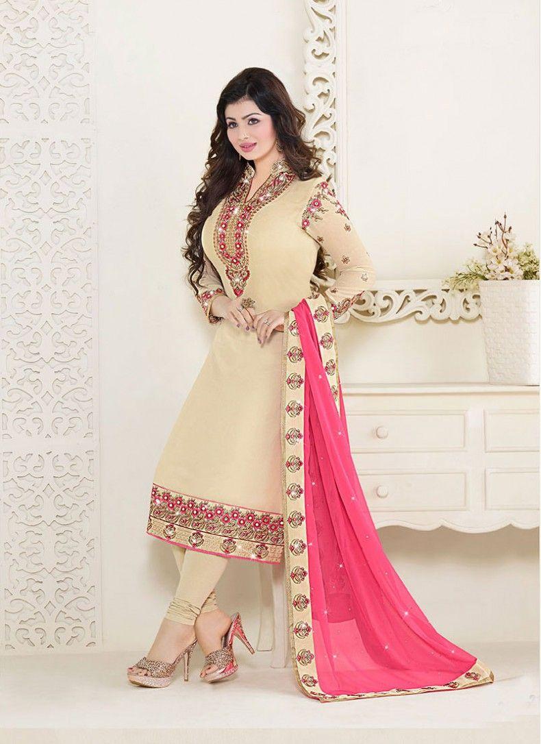4ee249b407 Ayesha Takia Cream and Hot Pink Churidar Salwar Kameez | Salwar ...