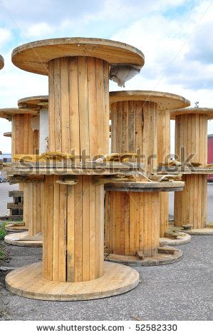 Large Wooden Cable Spools Large Empty Cable Reels Stock Photo  Shutterstock