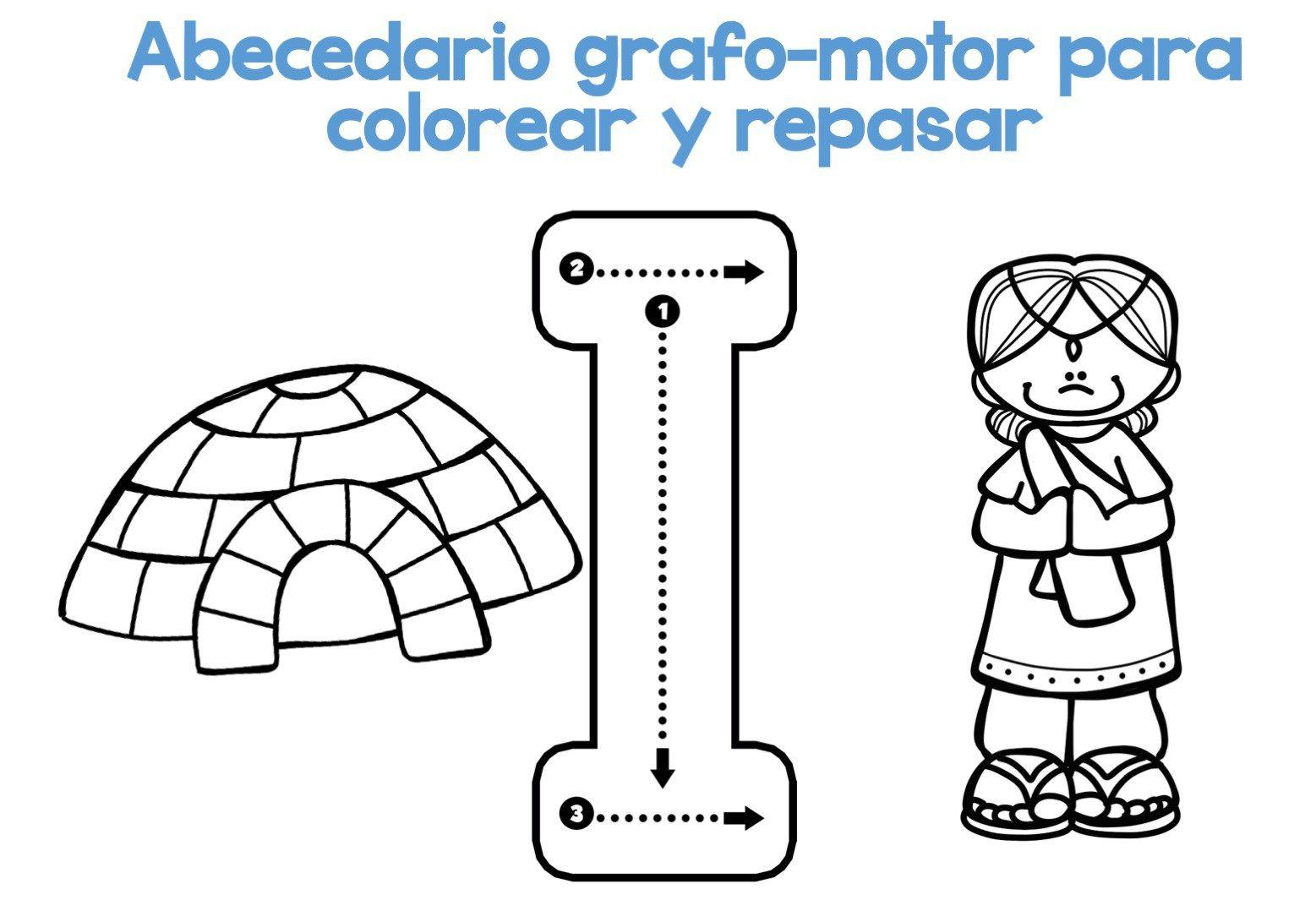 Completo Abecedario Grafo Motor Para Colorear Y Repasar