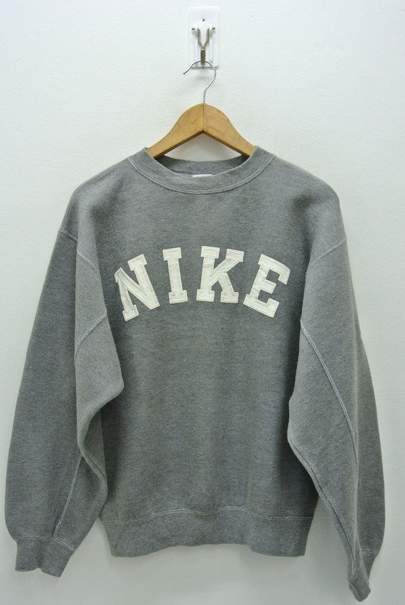 Nike Sweatshirt Mens Small Vintage Pullover 90s Crewneck Gray Tag Sweater Spell Out Size S