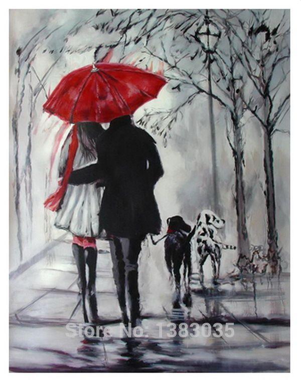 Cheap Pintado a mano Rainy calle paisaje amantes con perros pintura al óleo…