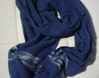 Sale !!! Natural Dye Indigo Blue Cotton Check Scarf from Thailand 100% Hand Woven Scarf Fabric Scarf - Edit Listing - Etsy