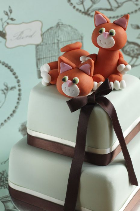 Ginger Cats On Eau De Nil Two Tier Cake 3 Fondant Cupcake Toppers