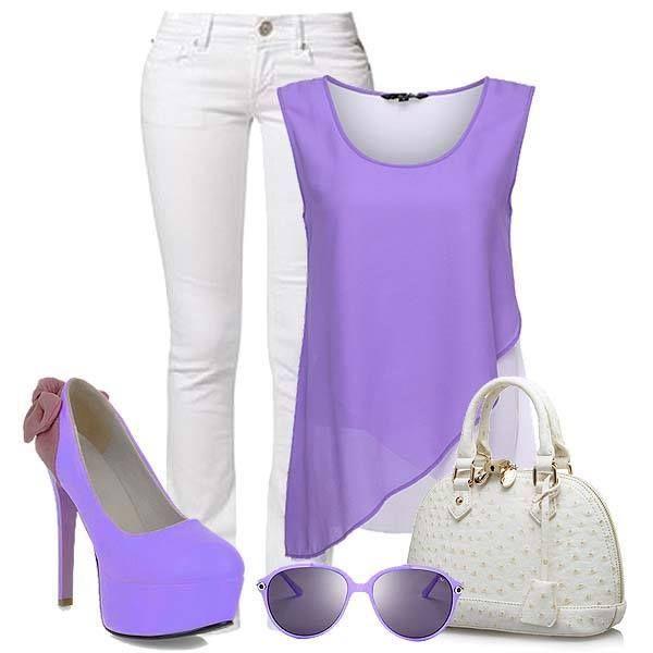 #Romantic #purple color #outfit!
