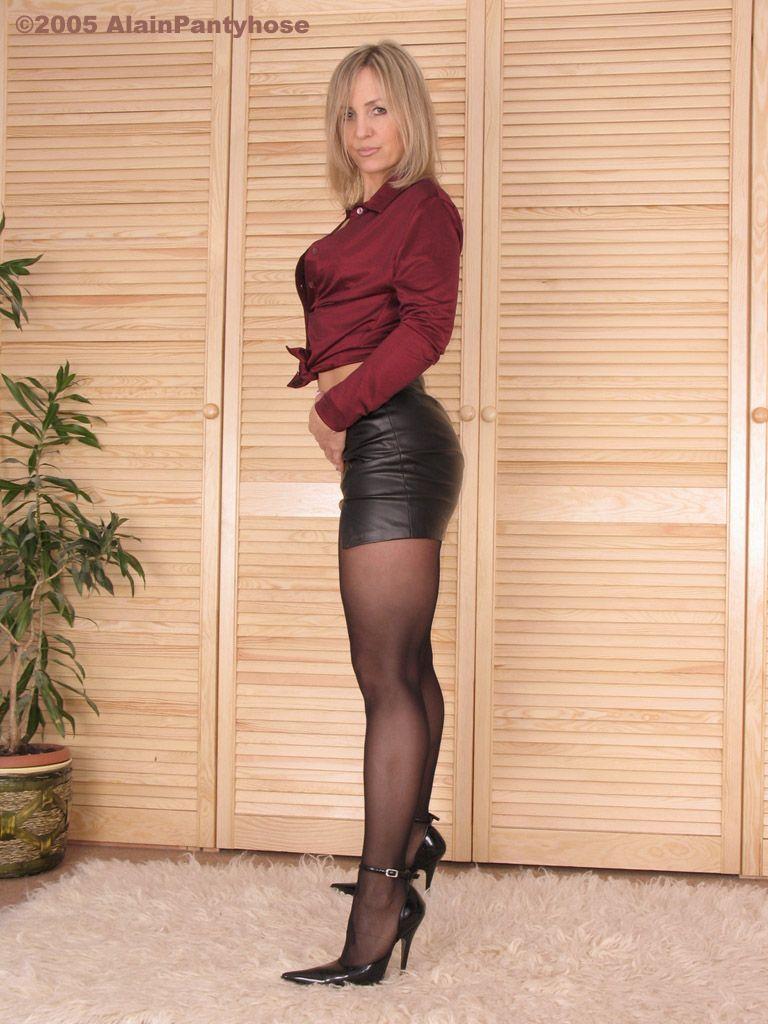 Mature high heels short skirts