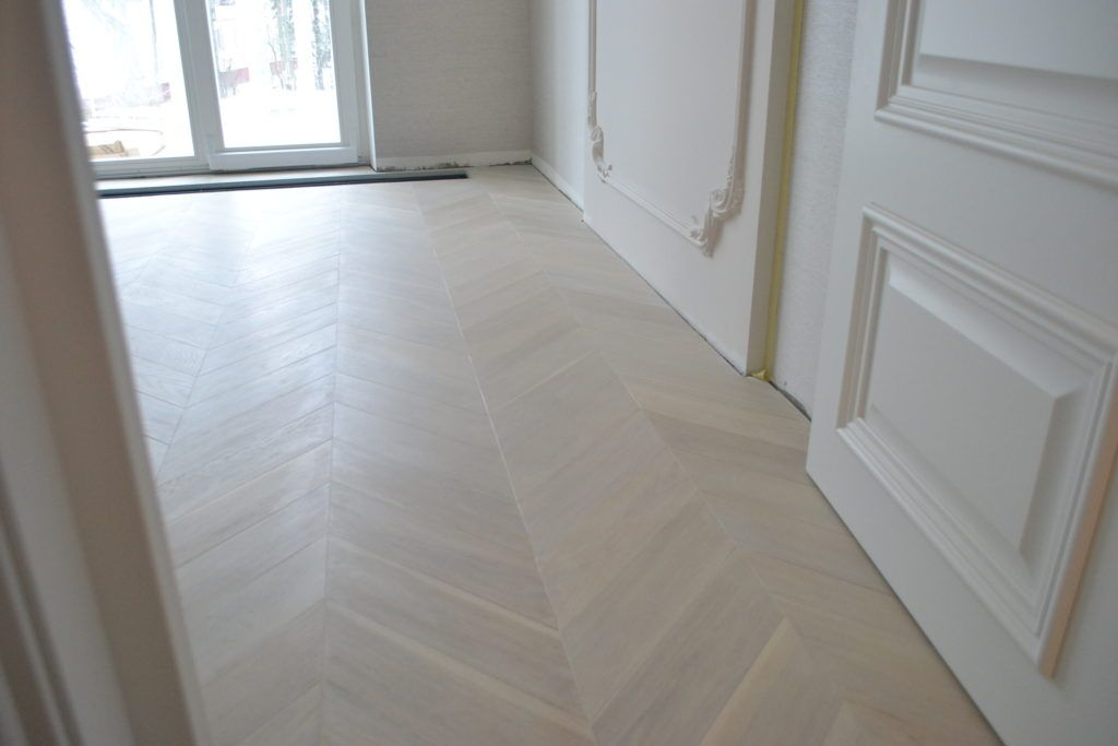 Project White White Lacquered Engineered Wood Chevron Parquet